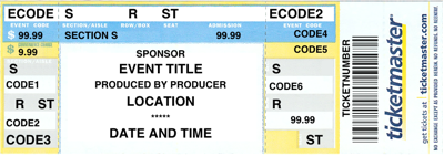 Ticketmaker. Sample Ticket  Concert Ticket Layout